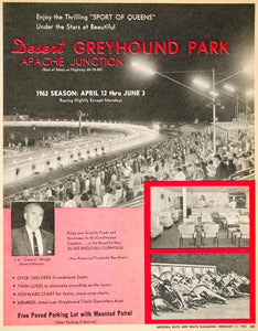 1962 Ad Greyhound Park Desert Apache Junction Wright J E Jimmy Dog Racing XGSC4