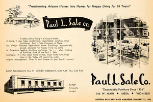 1962 Ad Paul L Sale Homes Mesa Furnishing Furniture Store Valley Household XGSC4