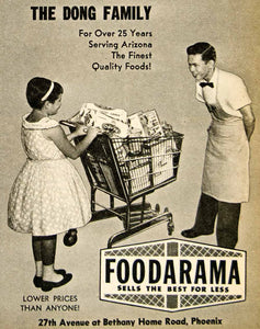 1962 Ad Foodarama Grocery Dong Family Food Shopping Cart Girl Man XGSC4
