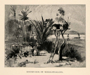 1902 Print Tennyson Cole Africa Makalanga Sentry Hut Jungle Construction XGT6