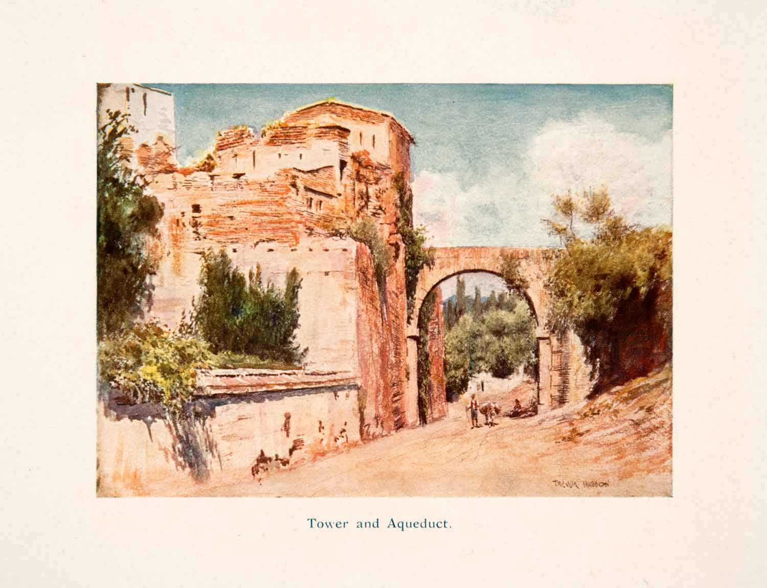 1908 Color Print Illustration Tower Aqueduct Alhambra Haddon Granada Spain XGTA4