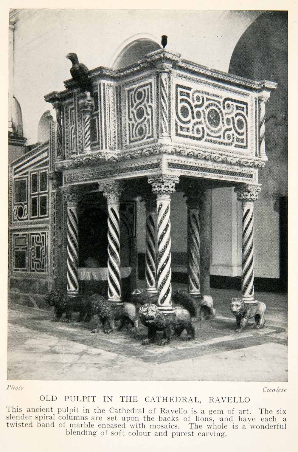 1928 Print Old Pulpit Cathedral Ravello Italy Lion Sculpture Column Marble XGTB6