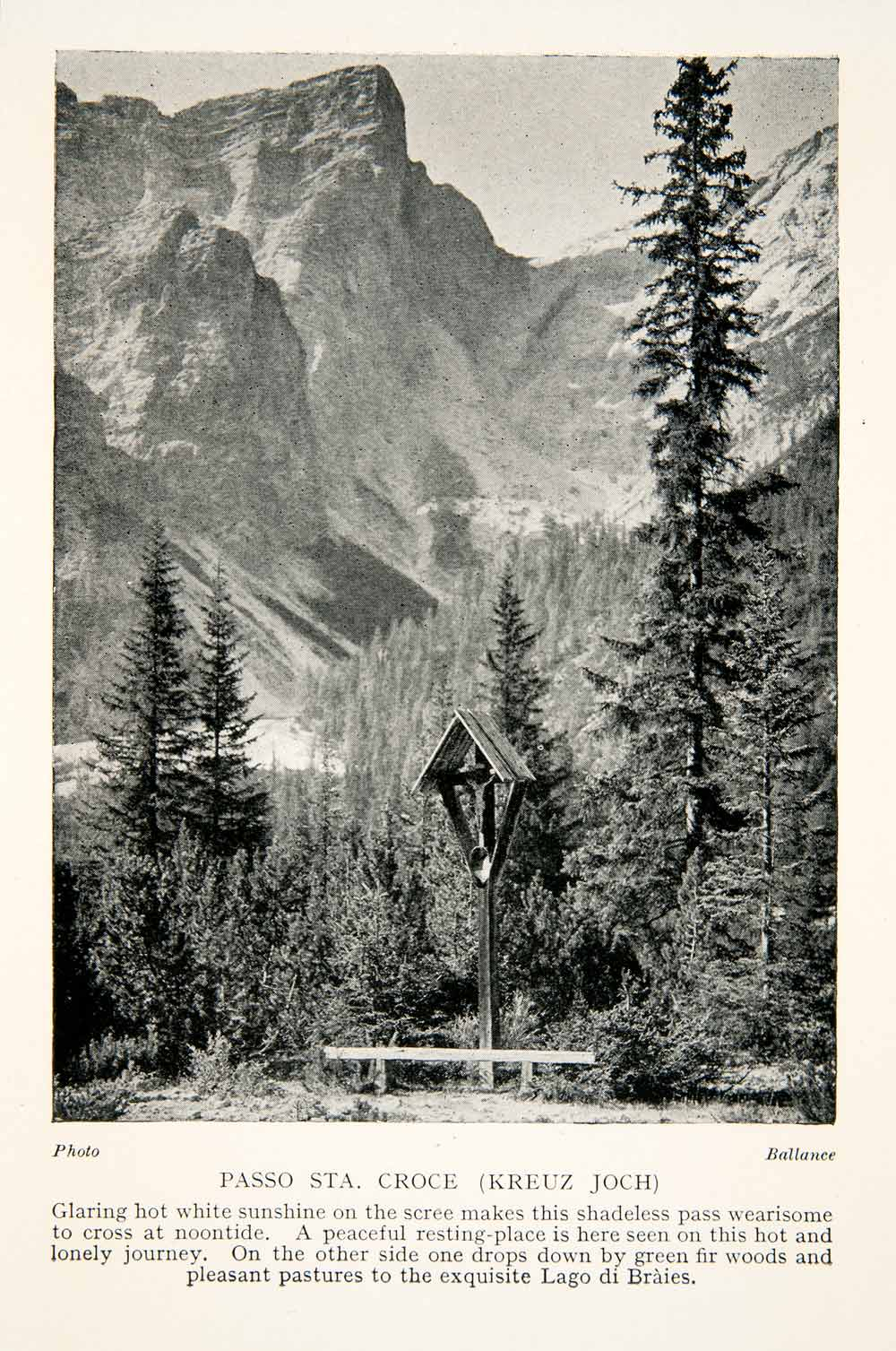 1928 Print Passo Santa Croce Shrine Mountain Dolomites Italy Braies Alps XGTB7