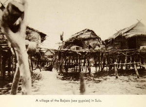 1941 Print Village Bajaos Sulu Archipelago Philippine Islands Huts Ocean XGTC3