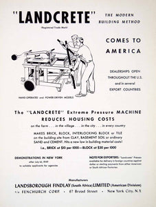 1949 Ad Landcrete Landsborough Findlay Limited Fenchurch Brick Cement Sand XGTC8