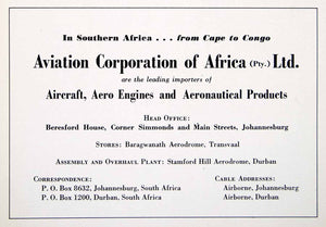 1949 Ad Aviation Africa Aircraft Engine Beresford House Baragwanath XGTC8