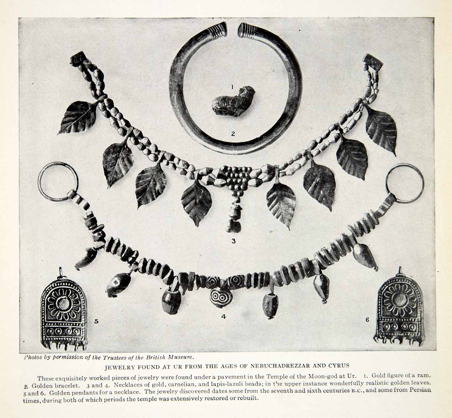 1924 Print Jewelry Ur Nebuchadrezzar Cyrus Temple Moon-God Persian XGTC9