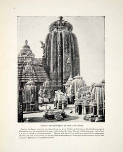 1924 Print Temple India Shrine Gret Bhubaneswar Sikhara Saxon Gothic Cell XGTC9