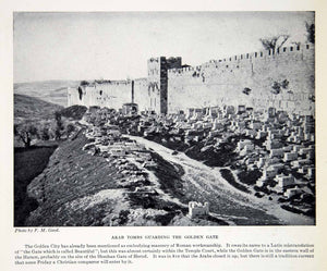 1924 Print Arab Tombs Golden Gate Wall Haram Shushan Gate HerodGood F M XGTC9