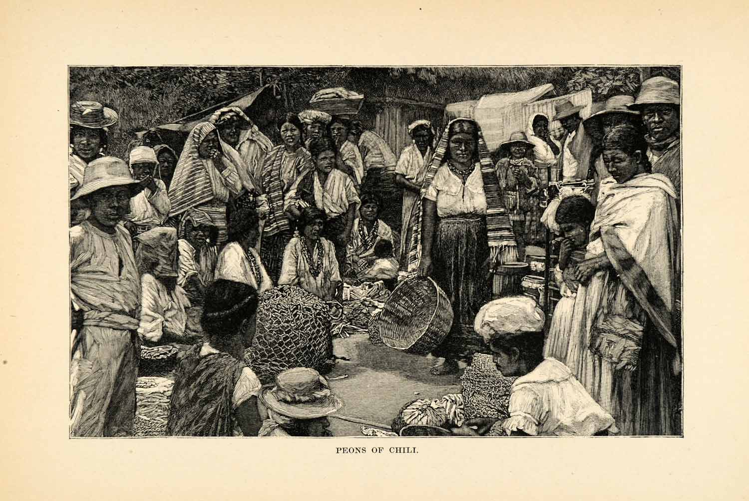 1888 Wood Engraving Peon Chile Costume Fashion Crowd Native Market South XGU6