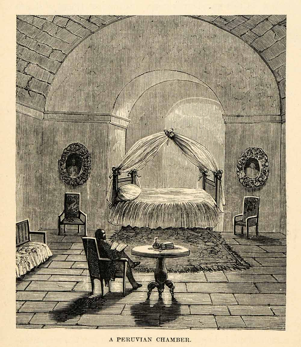 1888 Wood Engraving Interior Peruvian Chamber Bedroom Architecture South XGU6
