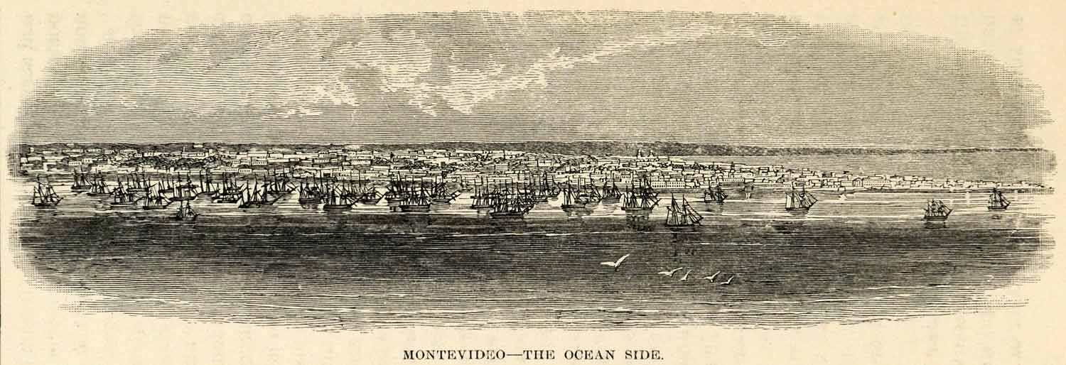 1888 Wood Engraving Montevideo Ocean View Sailboats Landscape South America XGU6