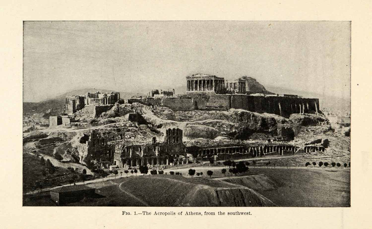 1920 Print Ancient Athens Greece Acropolis Cityscape Architecture XGU7