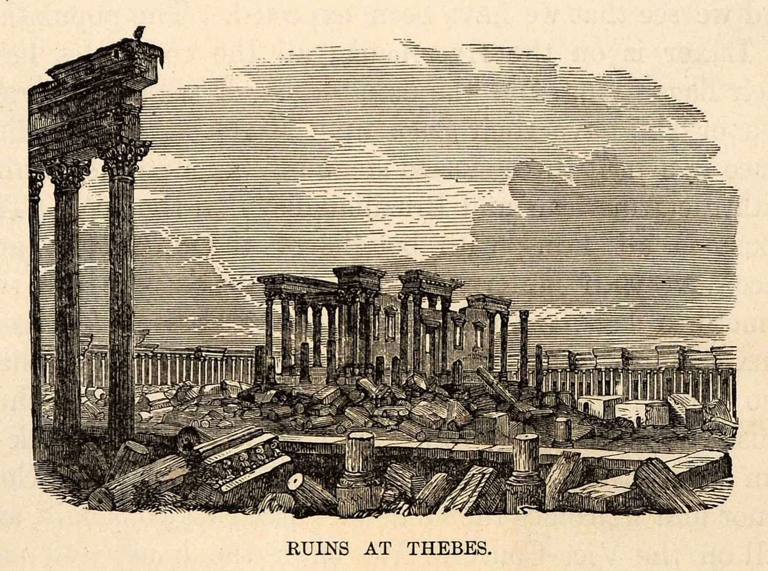 1880 Wood Engraving Ruins Thebes Egpyt Archeology Architecture Columns XGU9