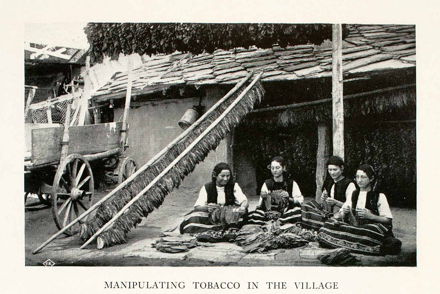 1933 Halftone Print Tobacco Harvest Roll Manipulate Costume Village XGUA4
