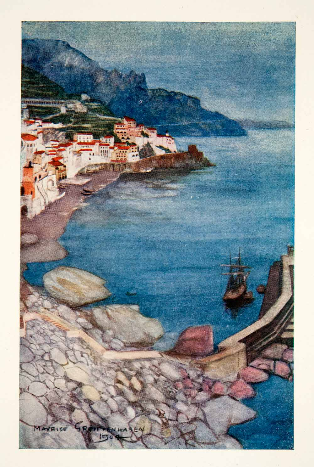 1907 Color Print Evening Amalfi Italy Naples Mediterranean Maurice XGUB1