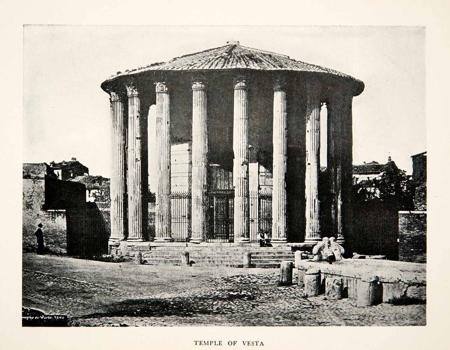 1906 Print Ancient Roman Architecture Temple Vesta Rome Italy Historic XGUB6