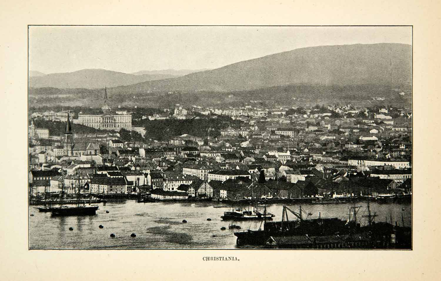 1902 Print Christiania Oslo Norway Cityscape Mountain Landscape Port XGUC8