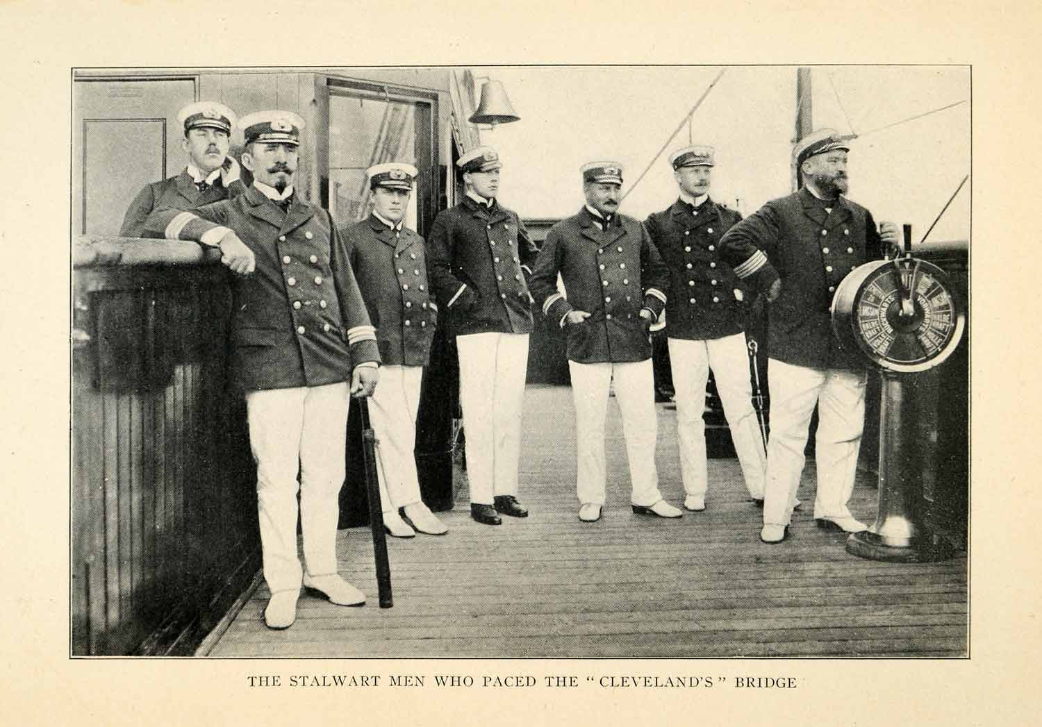 1912 Print Cleveland Officers Sailors Bridge Costume Ship Bell Spyglass XGV1