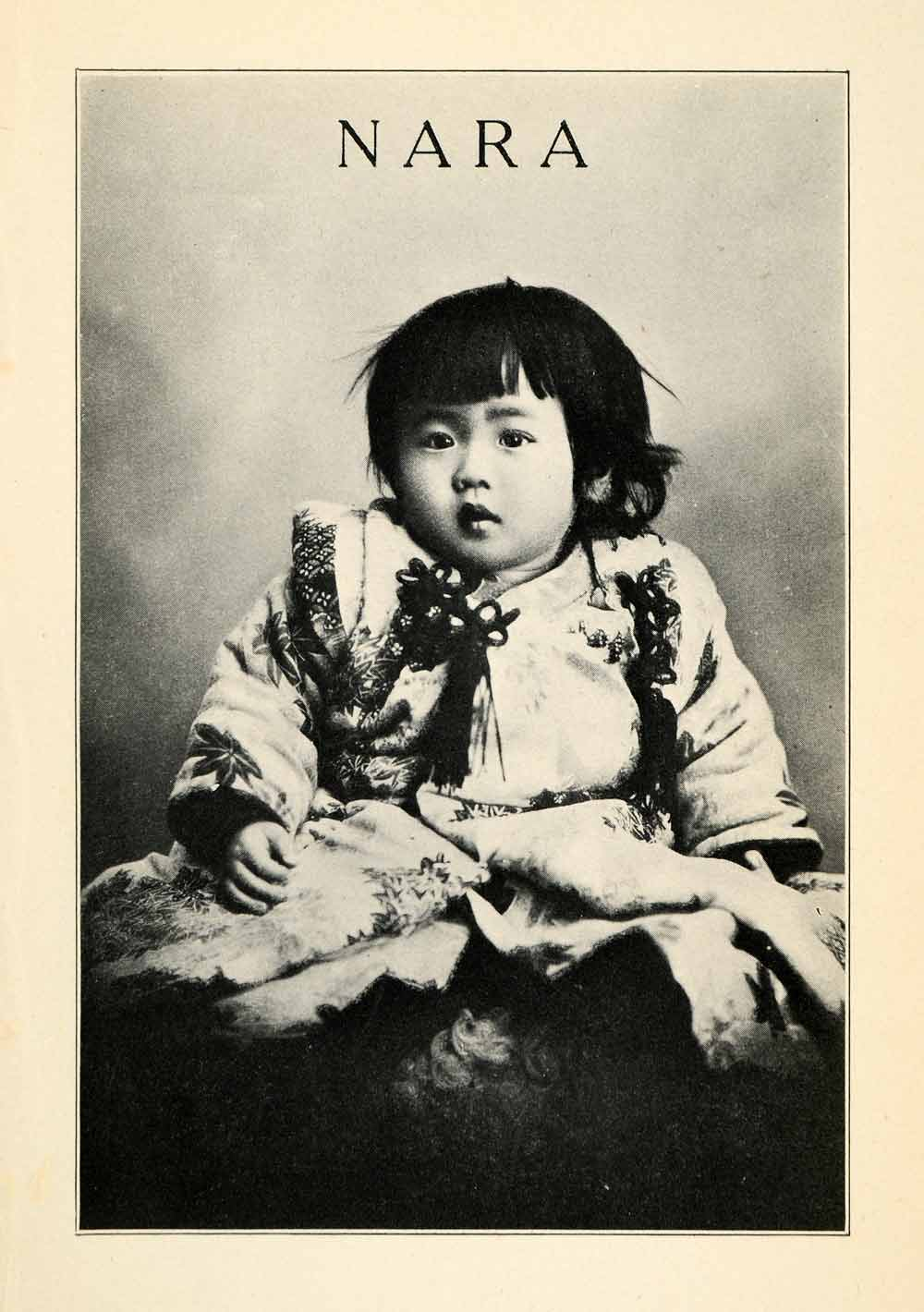 1912 Print Nara Japan Traditional Dress Clothing Baby Girl Cute Costume XGV1