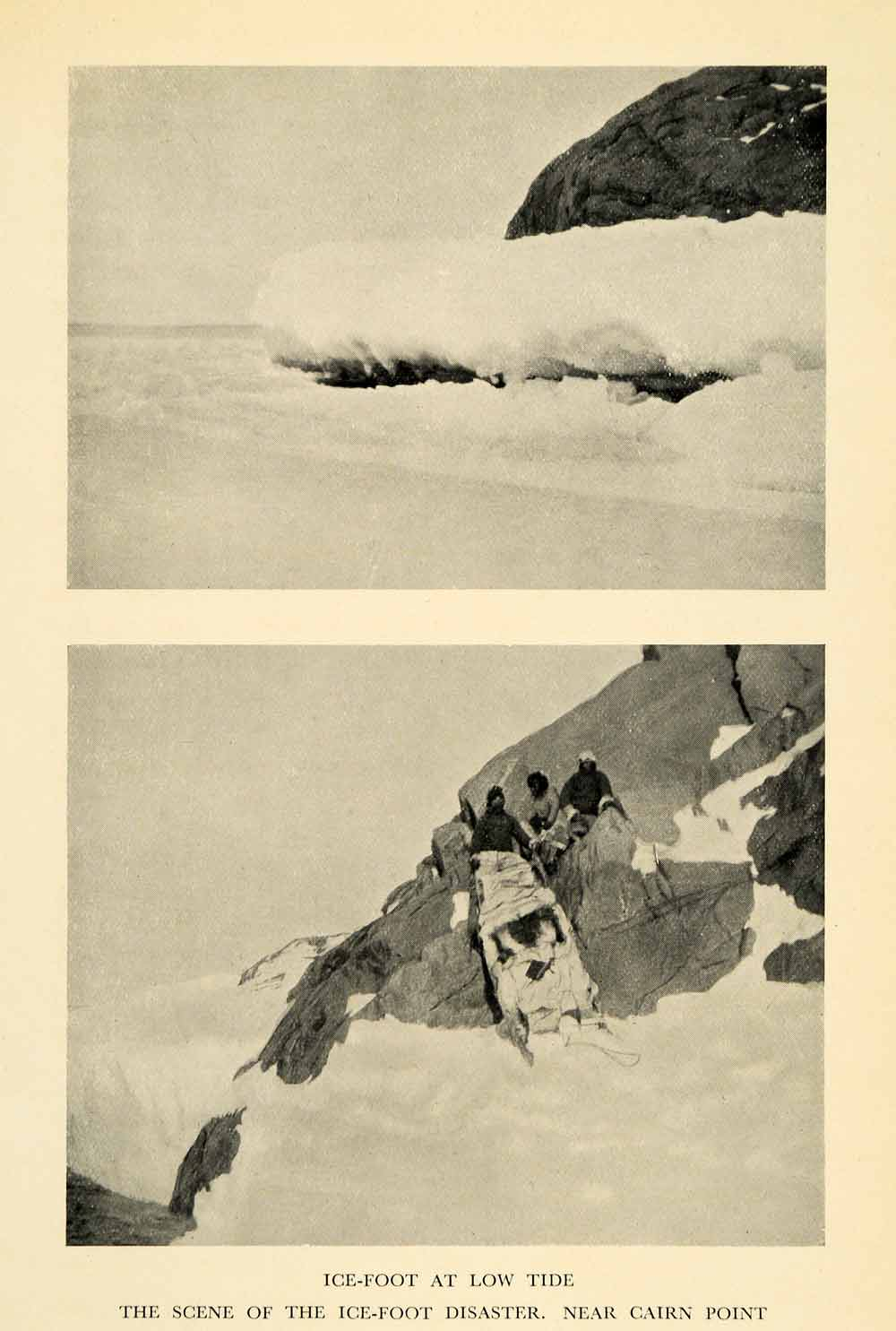1936 Print Ice Disaster Mountain Cairn Point Landscape Snow Glacier Arctic XGV4