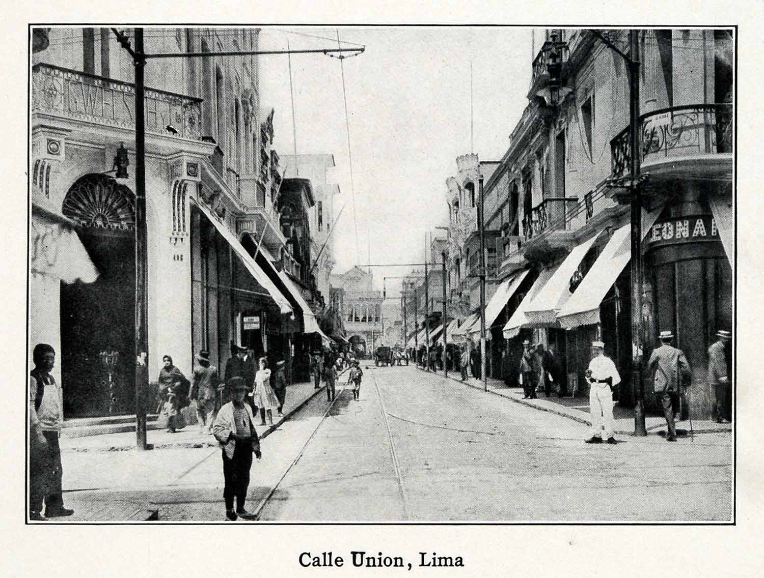 1915 Print Calle Union Lima Street Buildings Architecture Jiron View XGV6