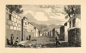 1871 Woodcut Archeology Architecture Pompeii Italy Ruins Road Arch Wall XGV9