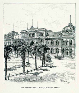 1891 Wood Engraving Casa Rosada Gobierno Government House Buenos Aires XGVA2