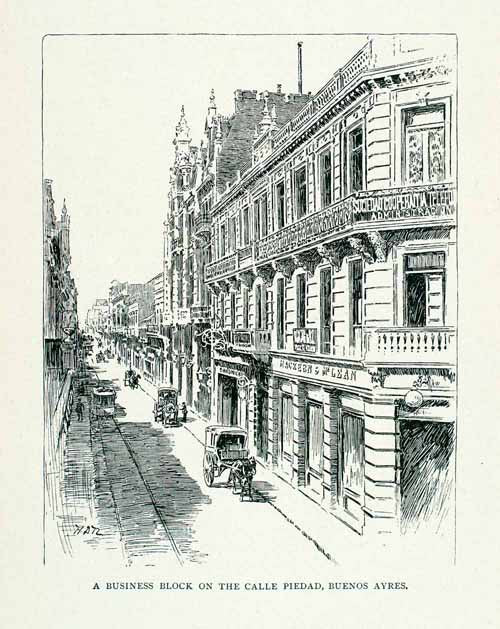 1891 Wood Engraving Calle Piedad Buenos Aires Business District Street XGVA2