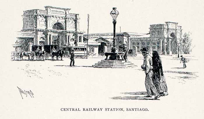 1891 Wood Engraving Estacion Alameda Central Railway