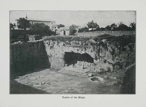 1915 Print Tombs Kings Jerusalem Holy City Rock Cut Archeology Historical XGVA4