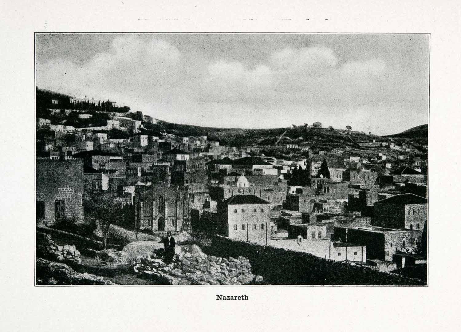 1915 Print Nazareth Biblical Holy Land Aerial View Religious Israel XGVA4