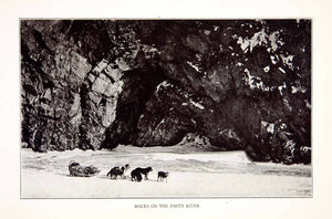1920 Print Rock Firth River Arctic Coast Alaska Dog Sled Landscape XGVA5