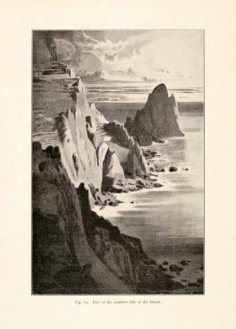 1900 Print Island Greece Rome Cliff Shore Rock Sea Shore Ocean Mountain XGVA6