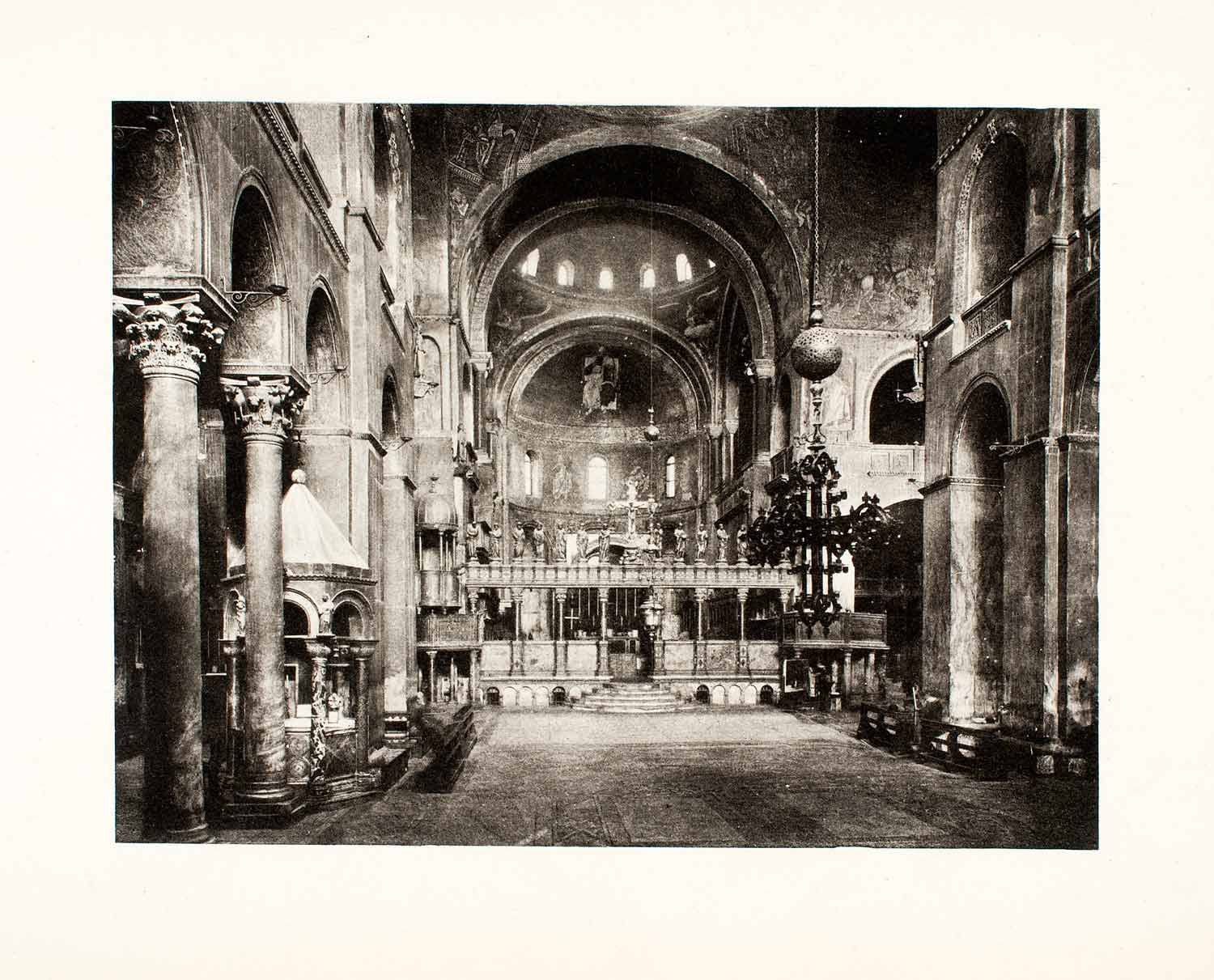 1896 Photogravure Basilica St. Mark Church Cathedral Interior Nave Apse XGVA9