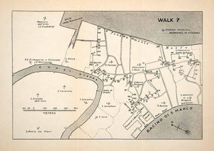 1907 Lithograph Map Walking Venice Italy Grand Canal Madonna Dell'Orto S XGVB3