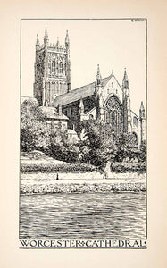 1901 Etching Anglican Worcester Cathedral England Edmund New Church XGVB5