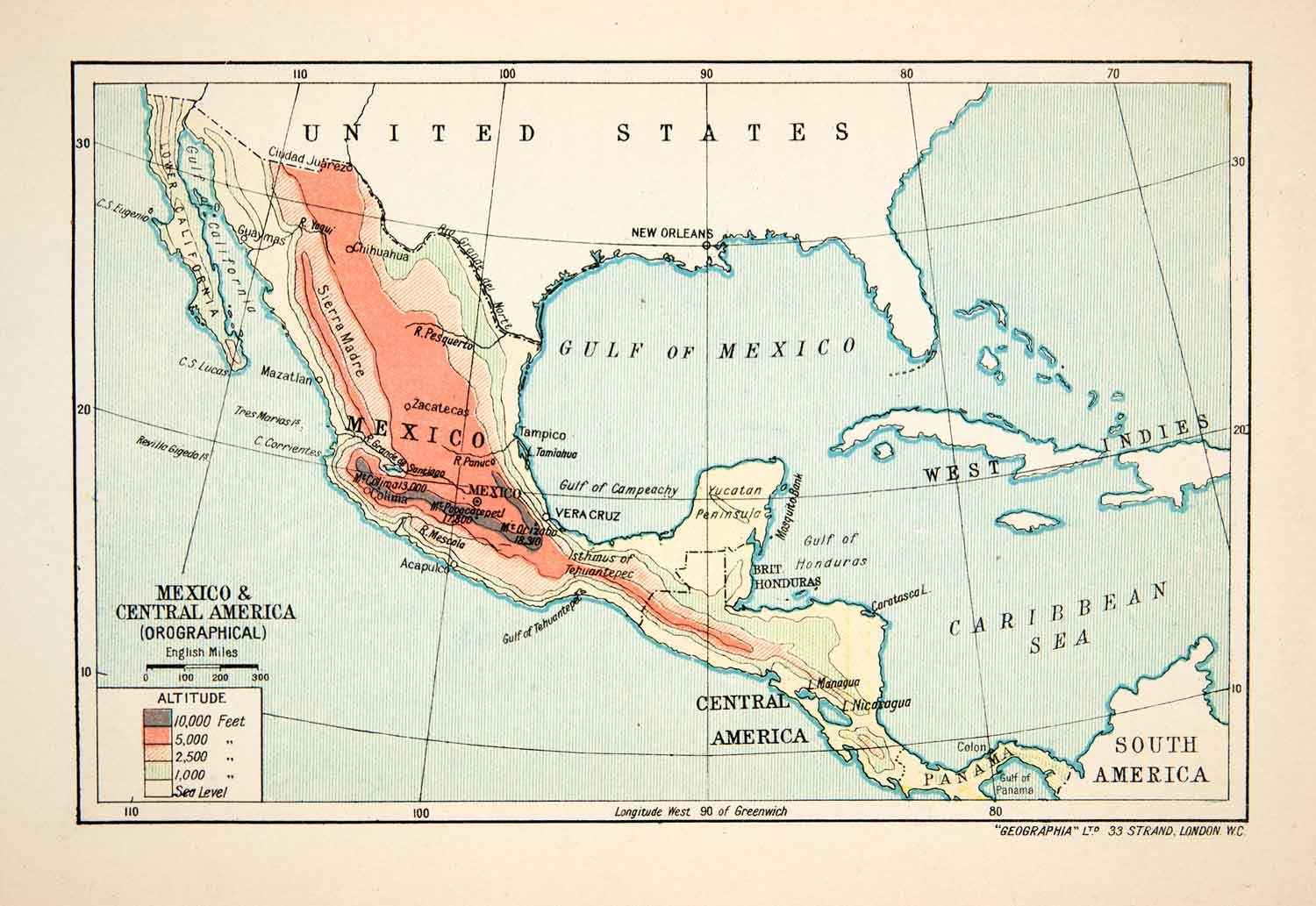 1913 Lithograph Map United States Mexico Central South America Caribbean  XGVB7