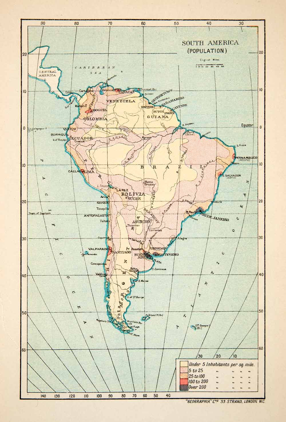 Map Of America By Population Density.1913 Lithograph Map Population Density South America Inhabit Continent Xgvb7