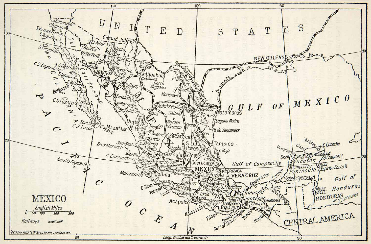 1913 Print Map Railroad United States Mexico Central America Pacific Ocean XGVB7