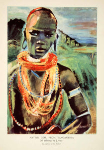 1944 Lithograph Native Girl Tanganyika Necklaces Portrait Costume Joronn XGVC3