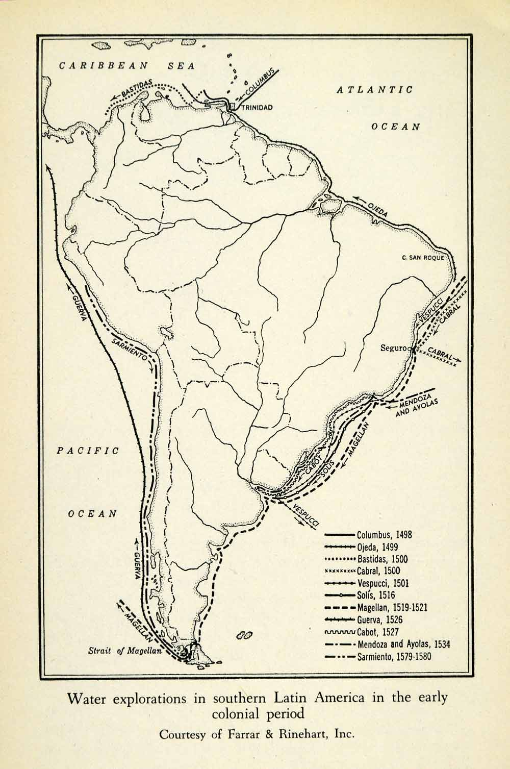 picture relating to Printable Map of South America known as 1943 Print Map South The united states Course Investigation Voyage Conquistador Coastline XGW1