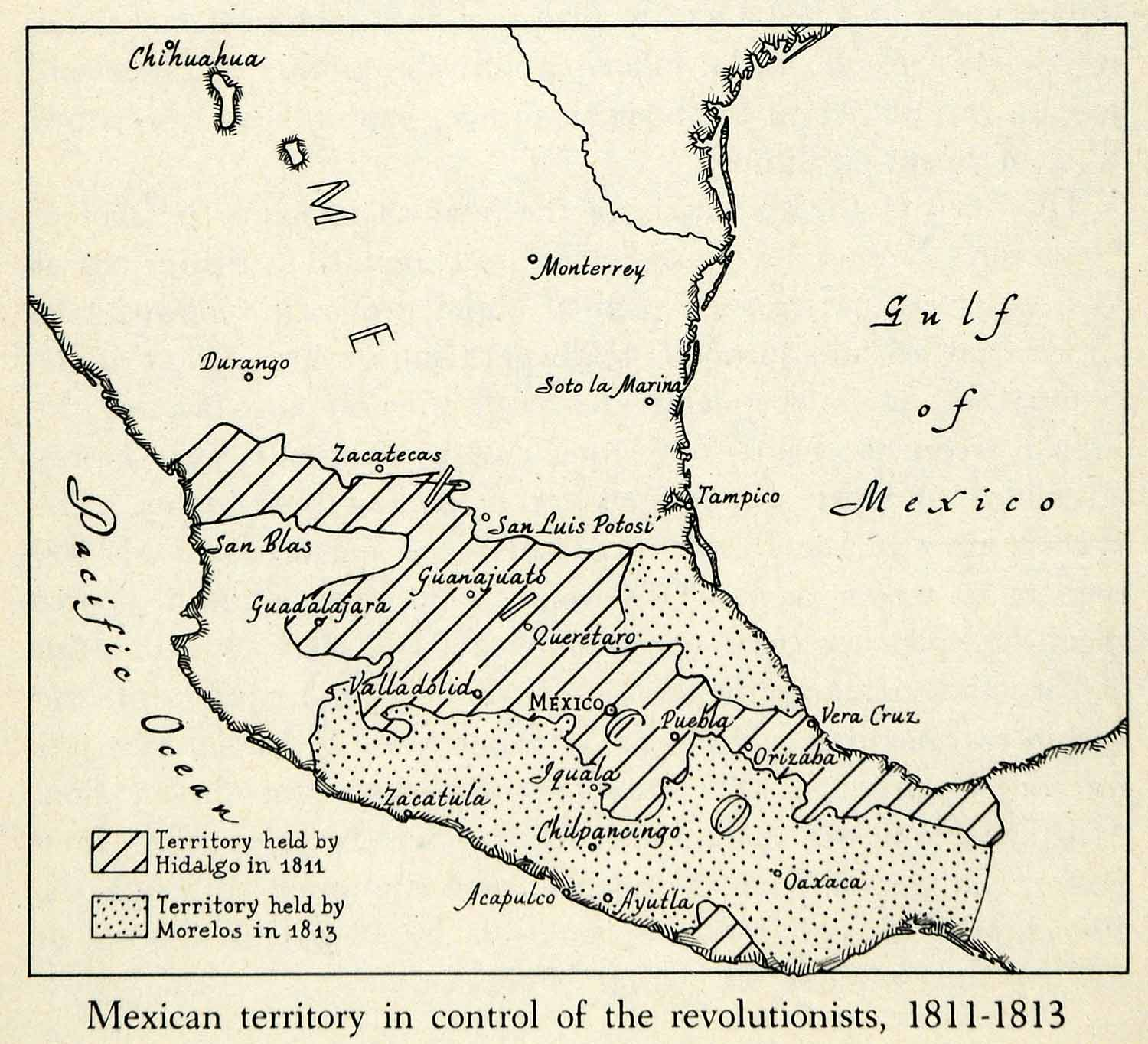 1943 Print Mexico War Independence Revolution Territory Map Hidalgo