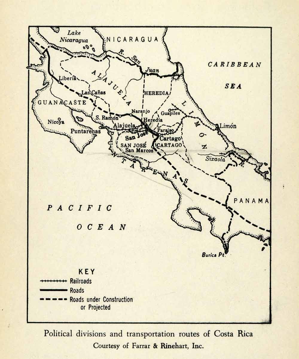 photo about Printable Map of Costa Rica called 1943 Print Transport Path Political Office Costa Rica Map Railroad XGW1