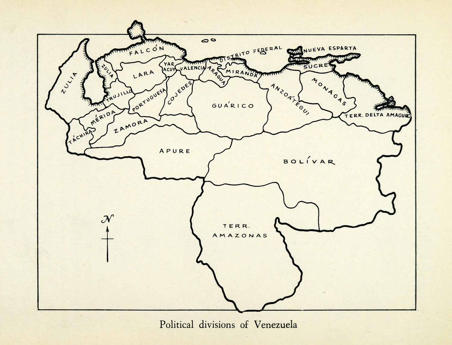 picture regarding Printable Map of South America identified as 1943 Print Venezuela South The us Political Office Nation Territory Map XGW1