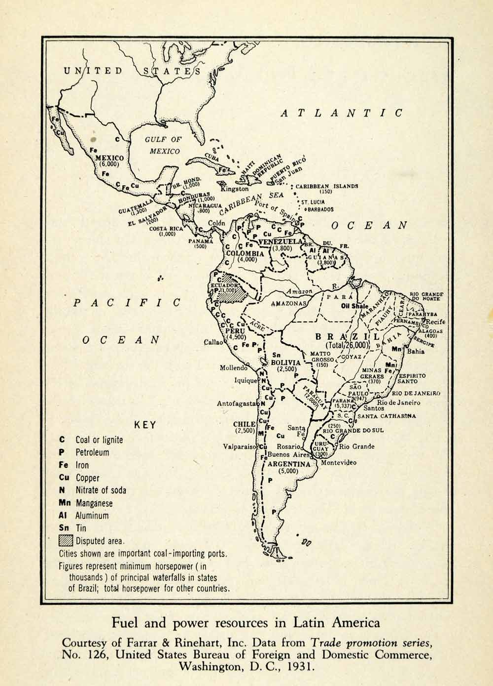 500 Year Old Map Of America.1943 Print Mexico Central America South Petroleum Resource Iron Coal Copper Xgw1