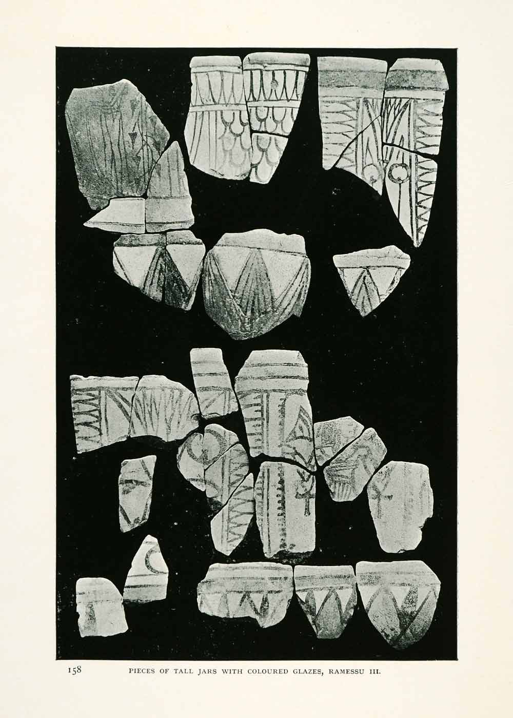 1906 Print Pieces Tall Jars Colored Glazes Ramessu Sinai Egypt Archeology XGW4