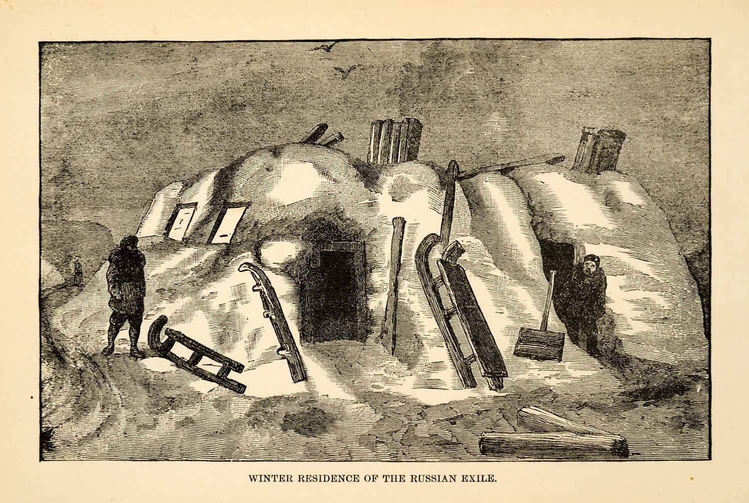 1882 Steel Engraving Winter Residence Russia Siberia Arctic Expedition XGW9 - Period Paper