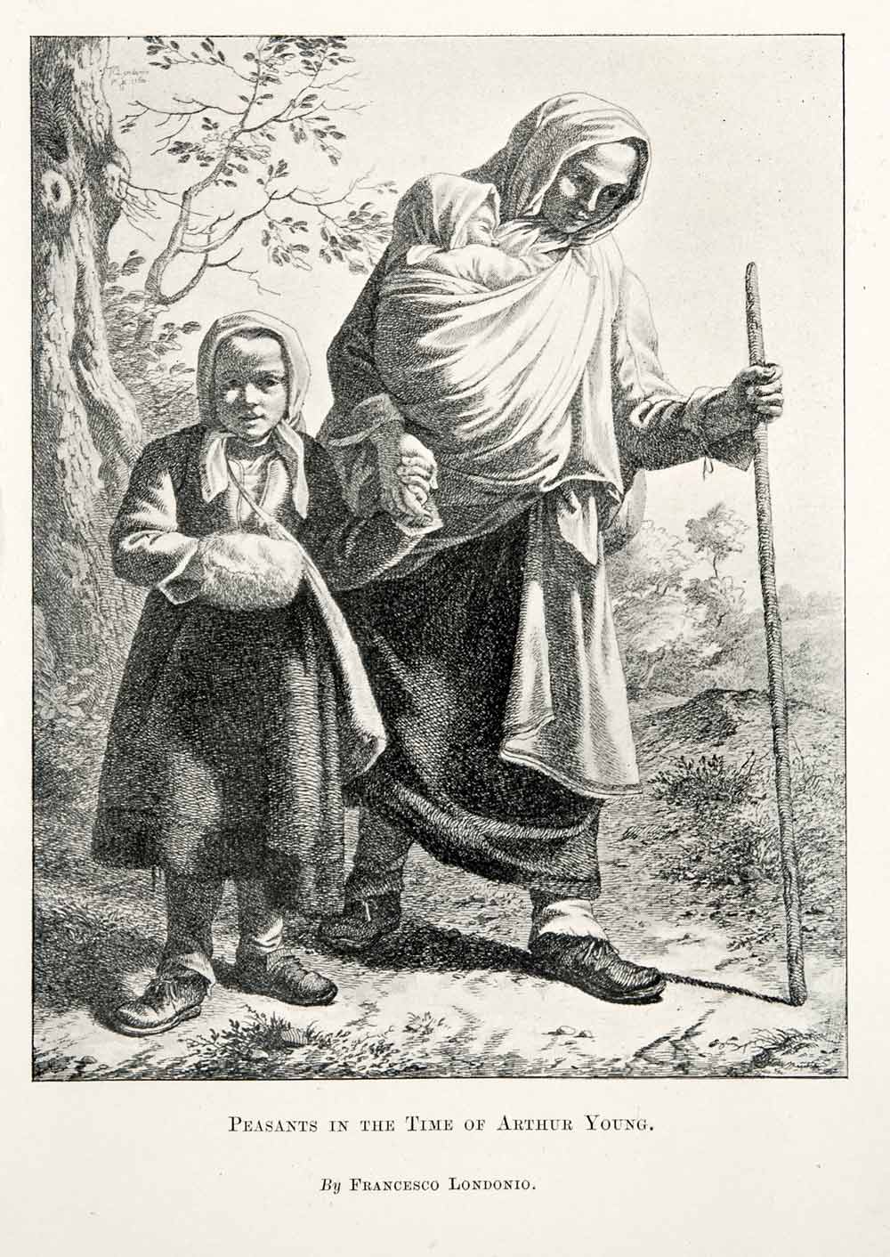 1902 Print Peasants Europe Child Infant Pedestrian Staff Costume Trail XGWA1