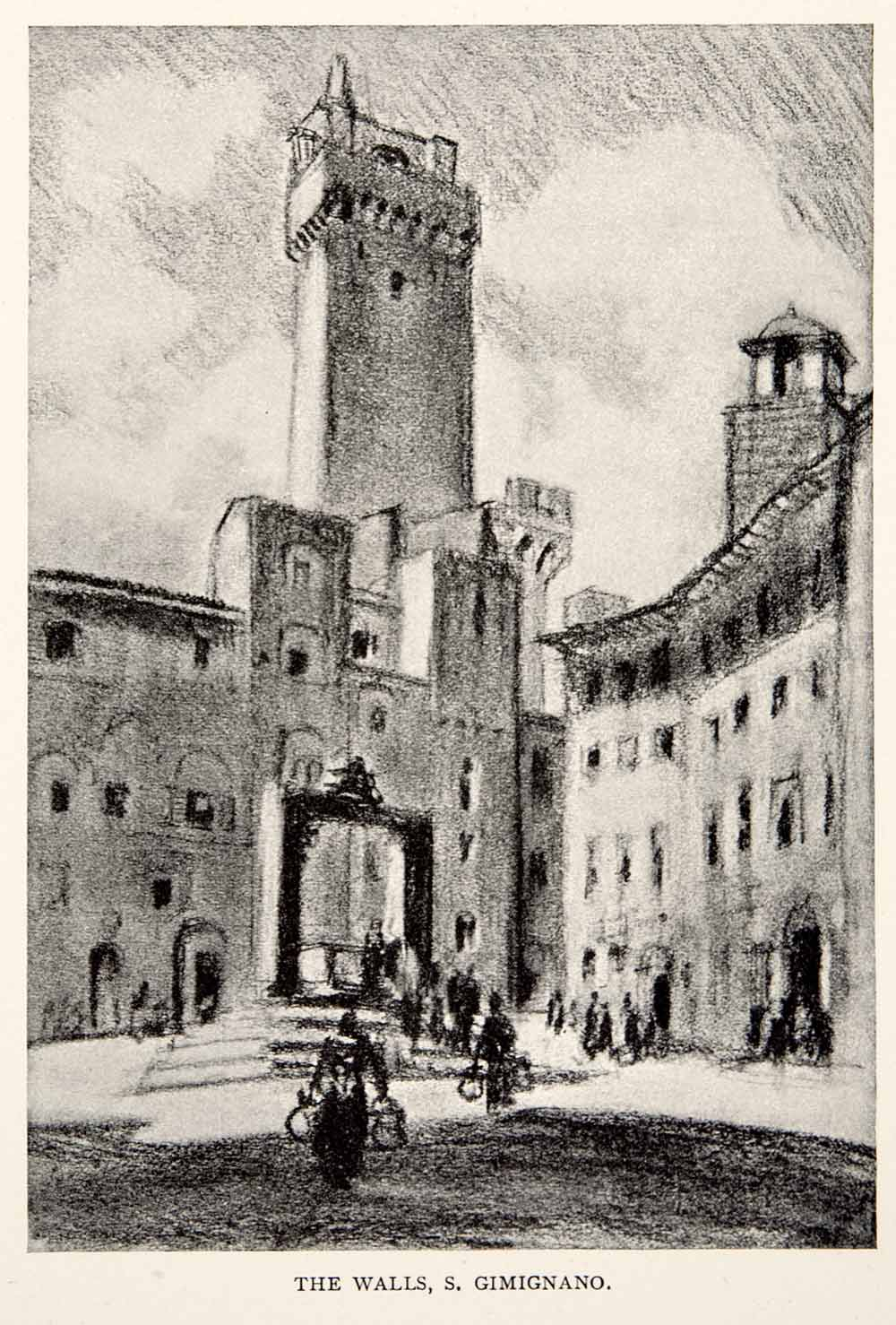 1904 Print San Gimignano Medieval Town Walls Tower Tuscany Joseph Pennell XGWA4